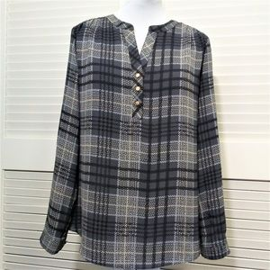 Investments Petites Grey & Black Plaid Button Tab